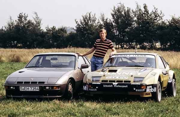 Walter Röhrl between 924 Carrera GTS and 924 Turbo (1981).