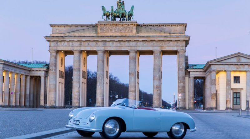 Porsche 356 Number 1 at the Brandenburger Tor in Berlin for Porsche 70 years exhibition