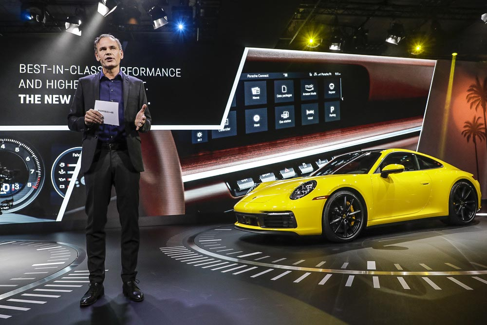 The new Porsche 911, type 992 prresented to the world by Porsche CEO Oliver Blume