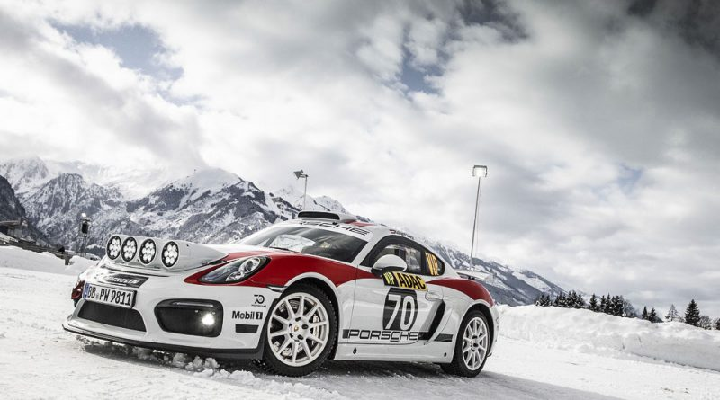 Demo run for the Porsche Cayman GT4 Rallye on snow and ice at the GP Ice Race in Zell am See