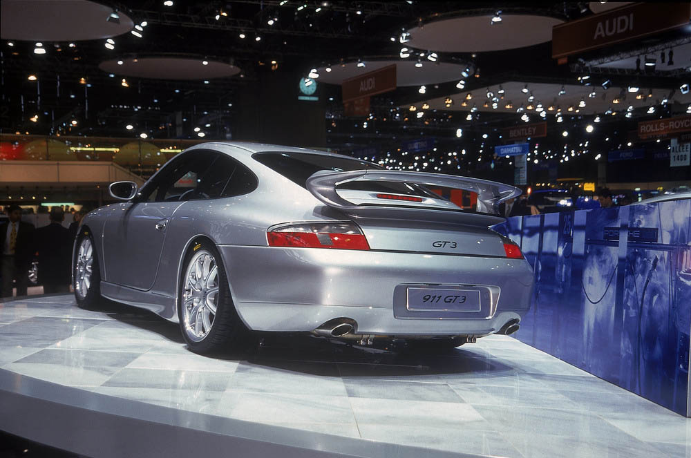 The first Porsche 911 GT3 making its debut at the Automobil Salon in Geneva in 1999.