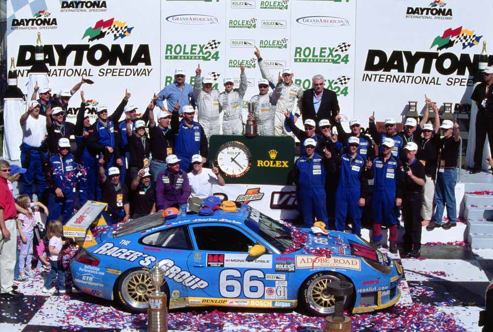 2003: Michael Schrom, Kevin Buckler, Joerg Bergmeister and Timo Bernhard win with Porsche 911 GT3 RS in Daytona.