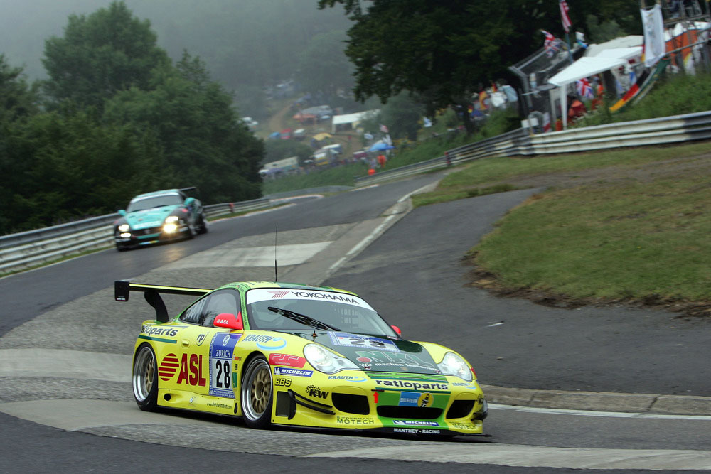 2006: Lucas Luhr, Timo Bernhard, Mike Rockenfeller and Marcel Tiemann win the 24 Hours Nuerburgring with Porsche 911 GT3 (996).