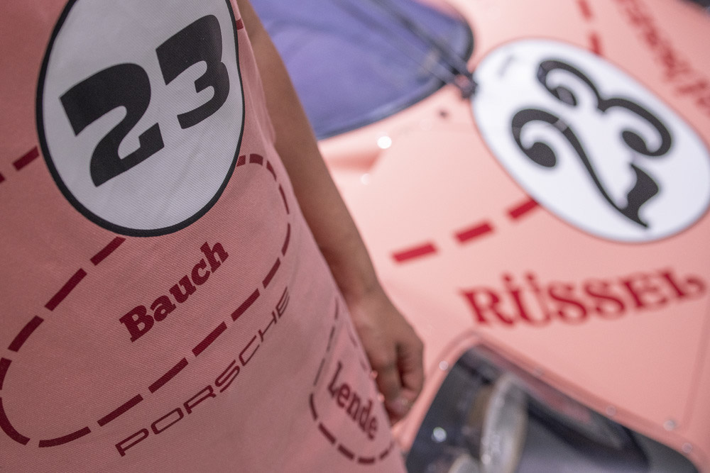 """The apron is inspired by the design of the 917/20 with the nickname """"Pink Pig""""."""