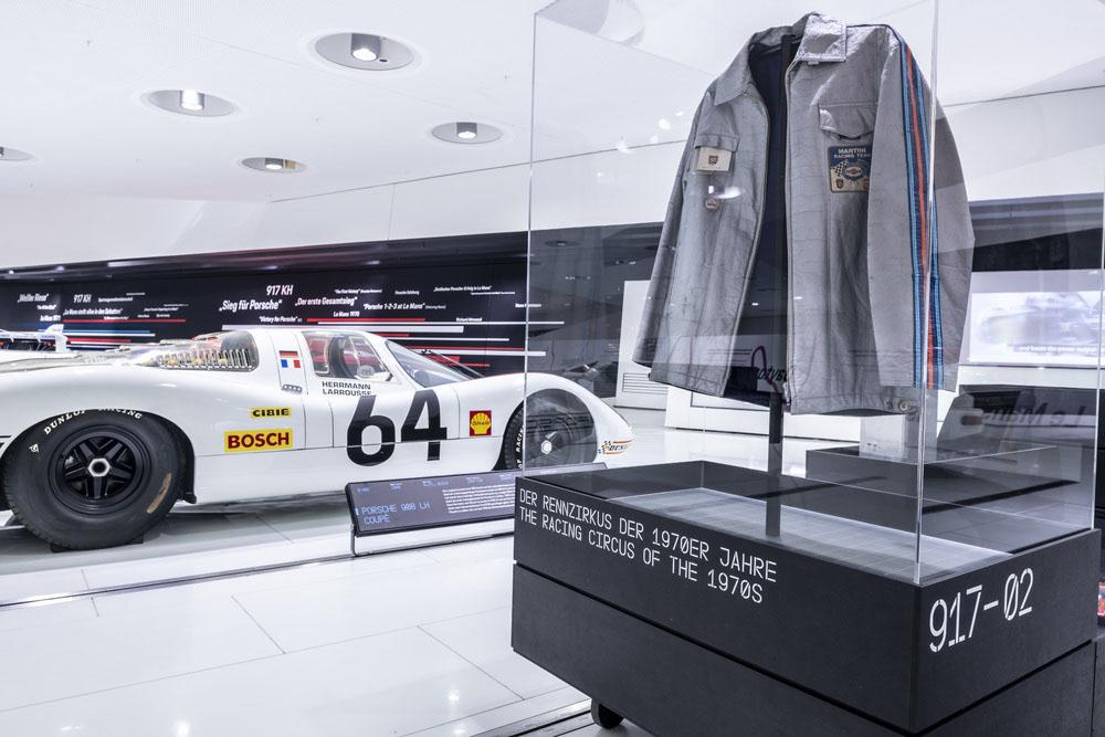 Various exhibits represent the Porsche 917's success in racing.