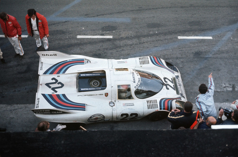 The Porsche 917 KH Coupé in Le Mans 1971, drivers and overall winner: Gijs van Lennep and Helmut Marko.