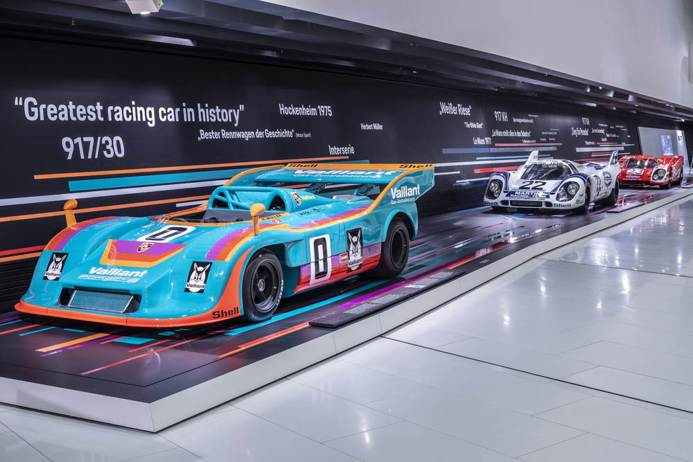 """The special exhibition """"50 Years of Porsche 917 – Colours of Speed"""" can be visited at the Porsche Museum from May 14th until September 15th."""