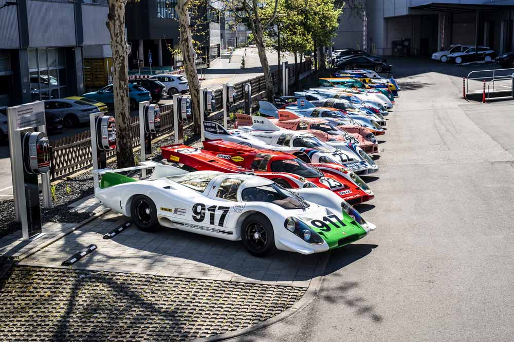 """Historical staging of the 917 at \""""Werk 1\"""" in Zuffenhausen - where the race department was situated back in the days."""