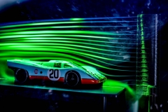 A model wind tunnel displays the aerodynamics of the Porsche 917.
