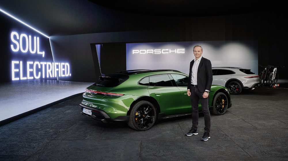 Oliver Blume Chairman of the Executive Board of Porsche AG at the Taycan Cross Turismo world premiere in Munich.