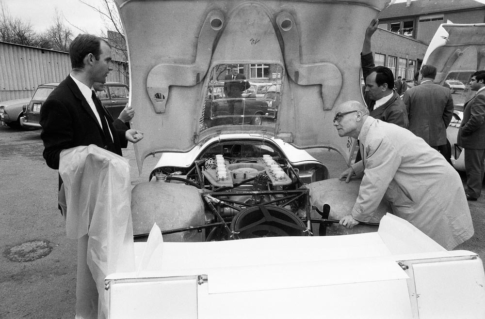 "1969: Ferdinand Piëch (left) next to the Porsche Type 917 LH Coupé at Porsche plant ""Werk 1\""."