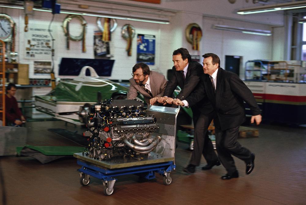 Hans-Joachim-Esch-Helmut-Flegl-and-Hans-Mezger-f.l.t.r.-with-the-engine-Type-2708-1990