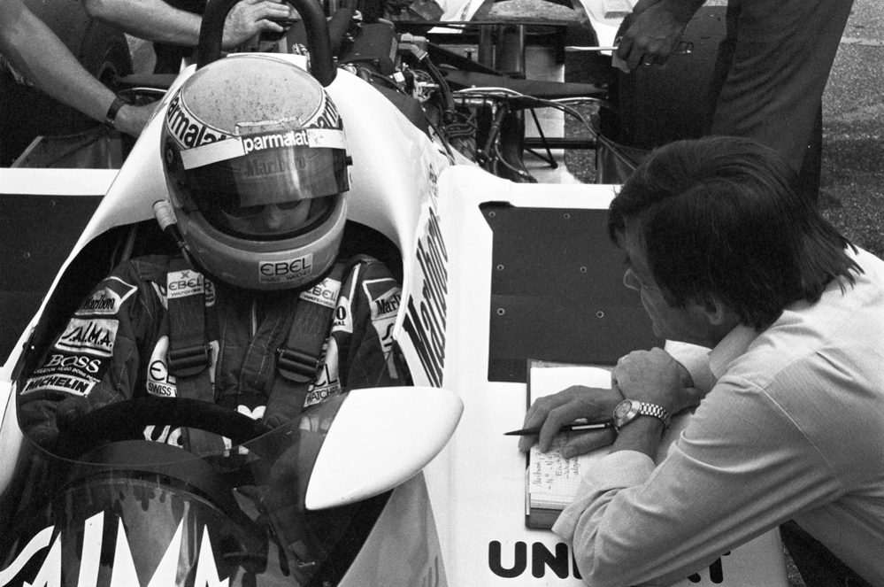 Tests with the TAG-engine in Weissach, 1983 - right Hans Mezger.