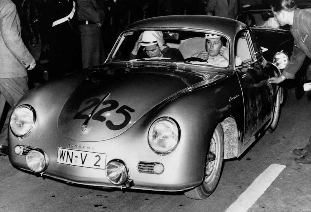 Herbert Linge / Paul-Ernst Strähle in a 356 A Carrera during the Mille Miglia in 1957