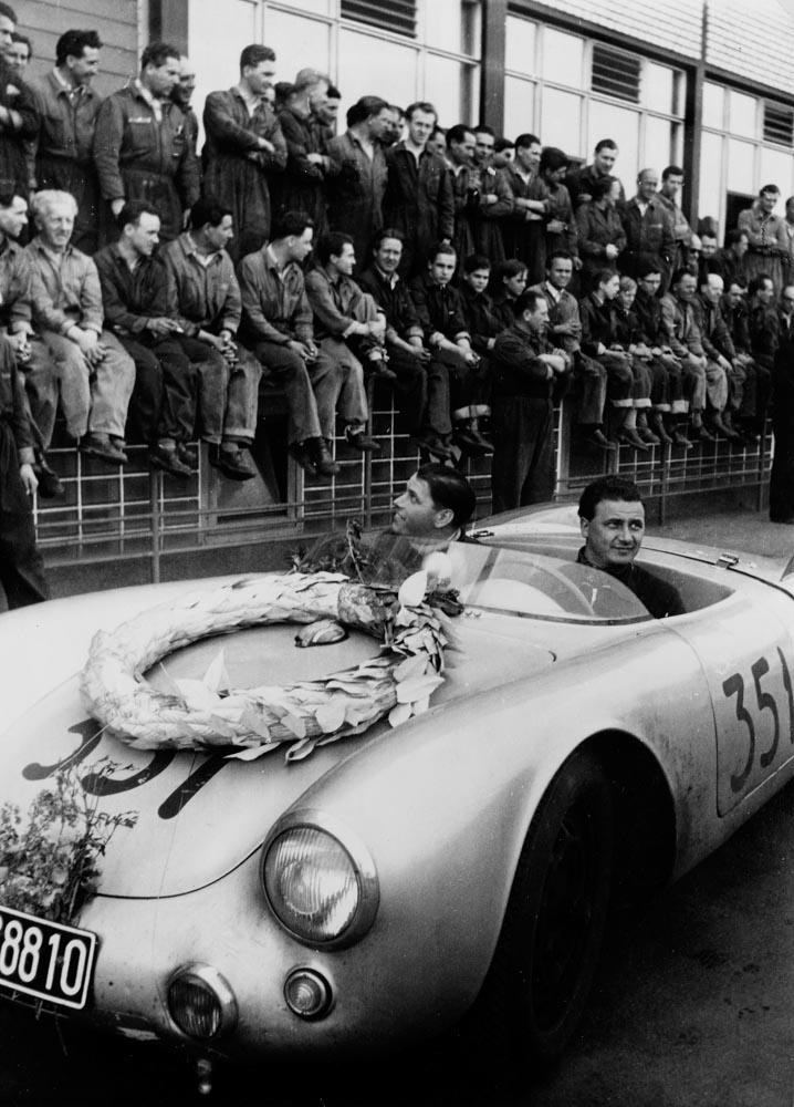 Hans Herrmann and Herbert Linge after their victory at the Mille Miglia, 1954.