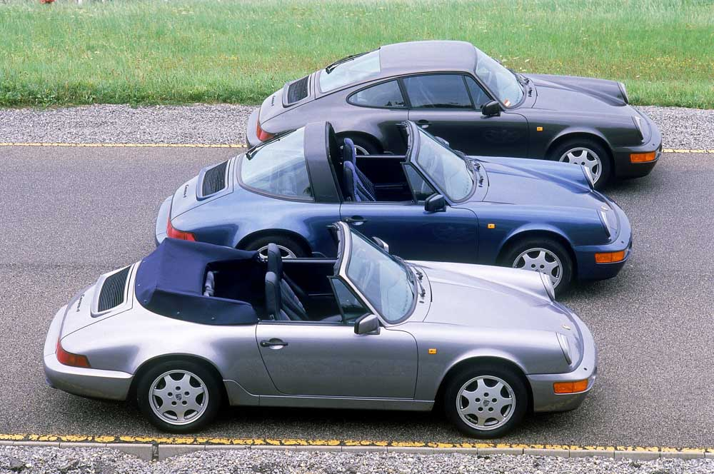 Model year 1990; front: 911 Carrera 4 3,6 Cabriolet; middle: 911 Carrera 4 3,6 Targa; in the back: 911 Carrera 4 3,6 Coupé